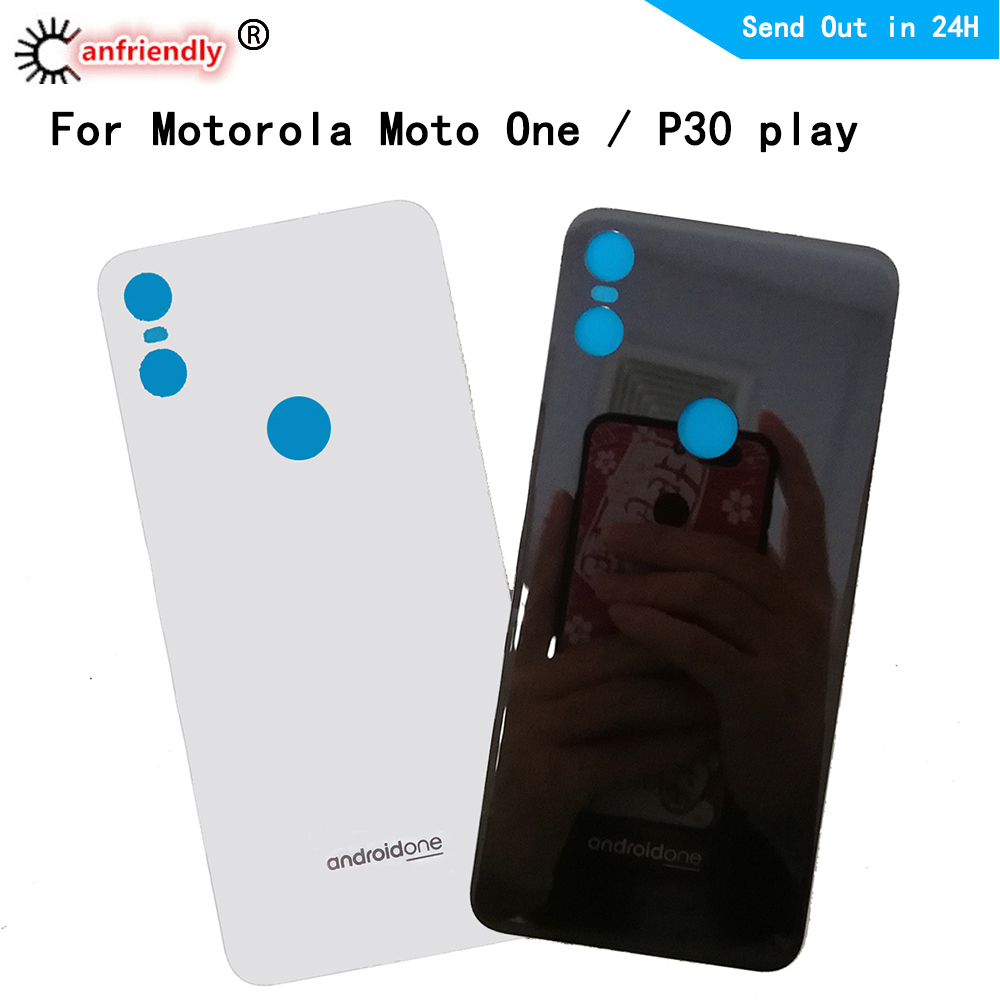 For Motorola Moto One / P30 Play Back Glass Housing + Adhesive Rear Crystal Panel Plate Battery Cover Lid Shell For Moto One