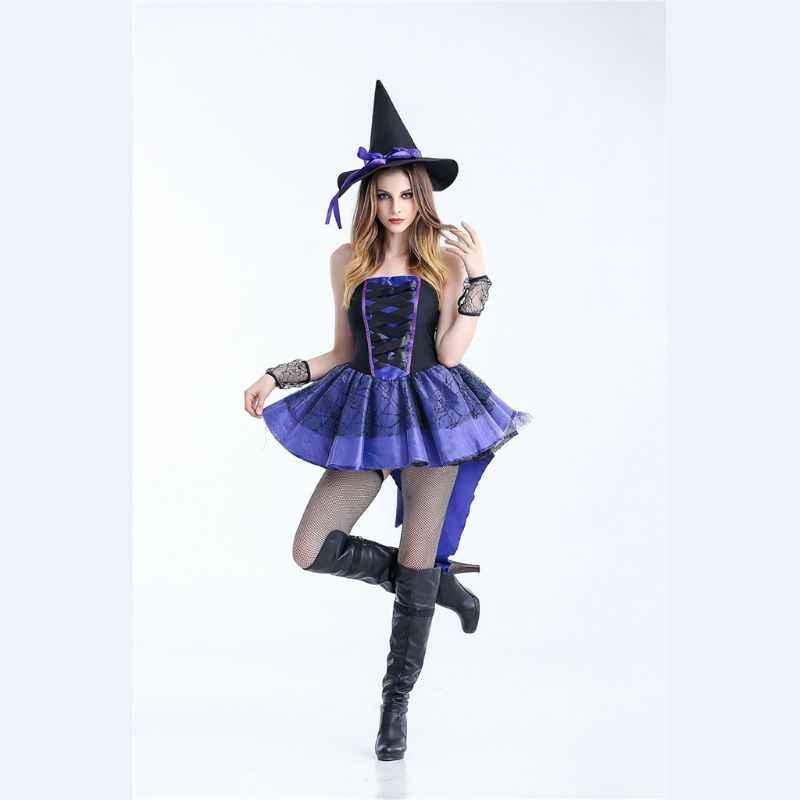 Хэллоуин женщин нечестивых ведьм без рукавов ласточкин хвост пачка платье маскарад Вечерние Косплей Фея маскарадный костюм со шляпой браслет