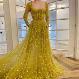 Luxury Full Beading Evening Dresses with Long Sleeves 2021 Sexy Sweetheart Corset Tulle Floor Length Formal Prom Evening Gowns