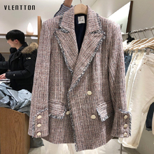 2019 Spring Tweed Plaid Womens Jacket Blazer Vintage Double Breasted Tassel Long Sleeve Office Blazers Jackets Female Outwear