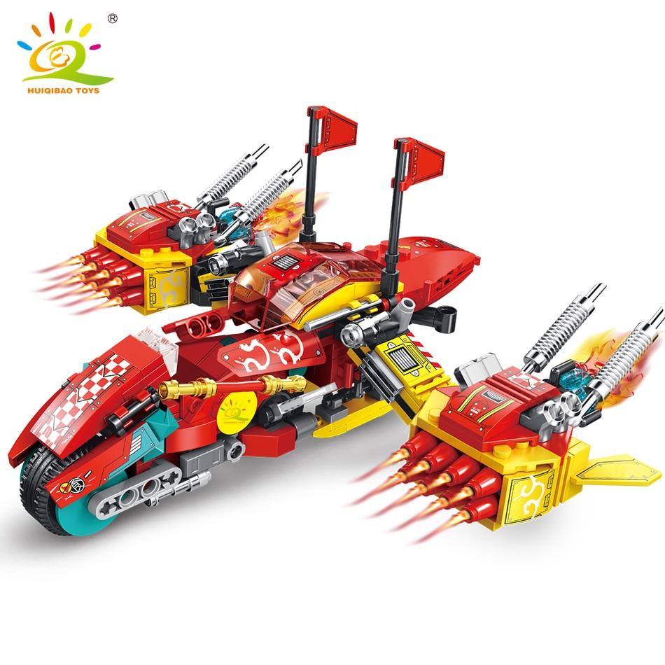 HUIQIBAO 4in1 singe roi nuage combattant blocs de construction Super moine héros avion voiture briques ensemble jouets pour enfants enfants cadeau