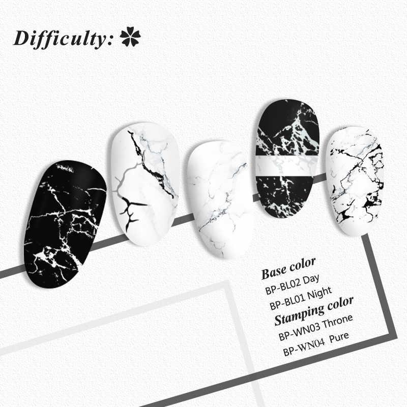 BORN PRETTYสี่เหลี่ยมผืนผ้าเล็บปั๊มแผ่นหินอ่อนหมึกสแตนเลสแม่แบบภาพเล็บภาพTexture DIYเครื่องมือ