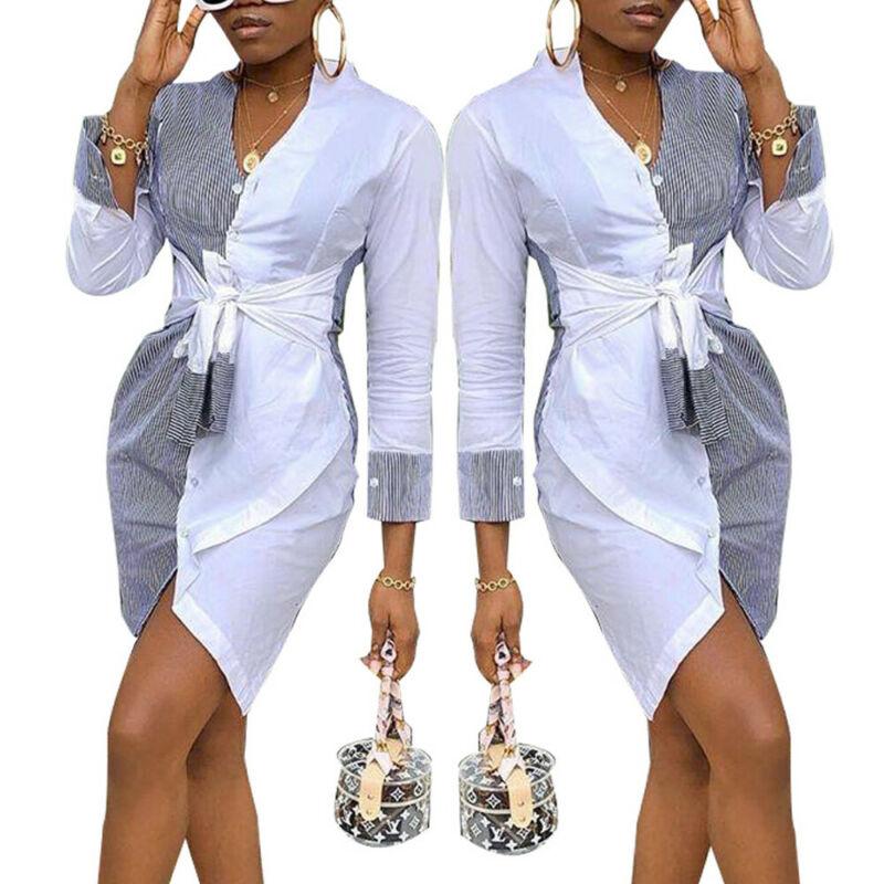 Модное женское платье-рубашка в полоску, Короткие вечерние платья в стиле пэчворк на лето и осень, праздничный сарафан, офисные повседневны...