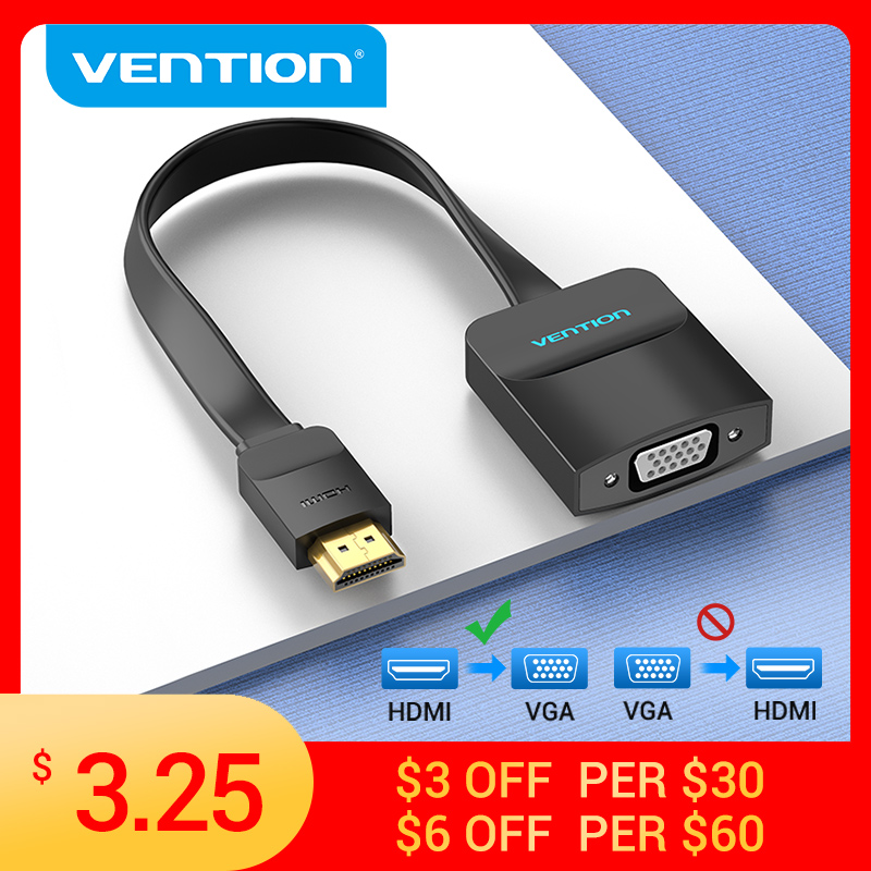 Vention HDMI to VGA Adapter 1080P HDMI Male to VGA Female Converter With 3.5 Jack Audio Cable for Xbox PS4 PC Laptop Projector