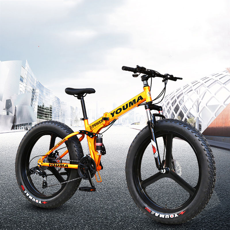 Folding Bike Mountain Bicycle 4.0 Super Wide Tire Snow Bike 24/26 Inch Shift Adult Student Men And Women