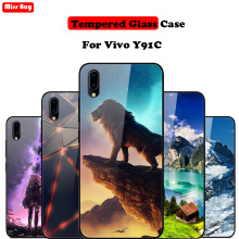 6.22For Vivo Y91C Case Y 91C 91 C VivoY91C Cartoon Print Tempered Glass For Cover Soft Bumper Hard