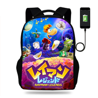 17inch Rayman legends adventures Backpack Mens USB PORT Backpacks For Teenager Boys Girls School Bags Laptop Daily Backpacks