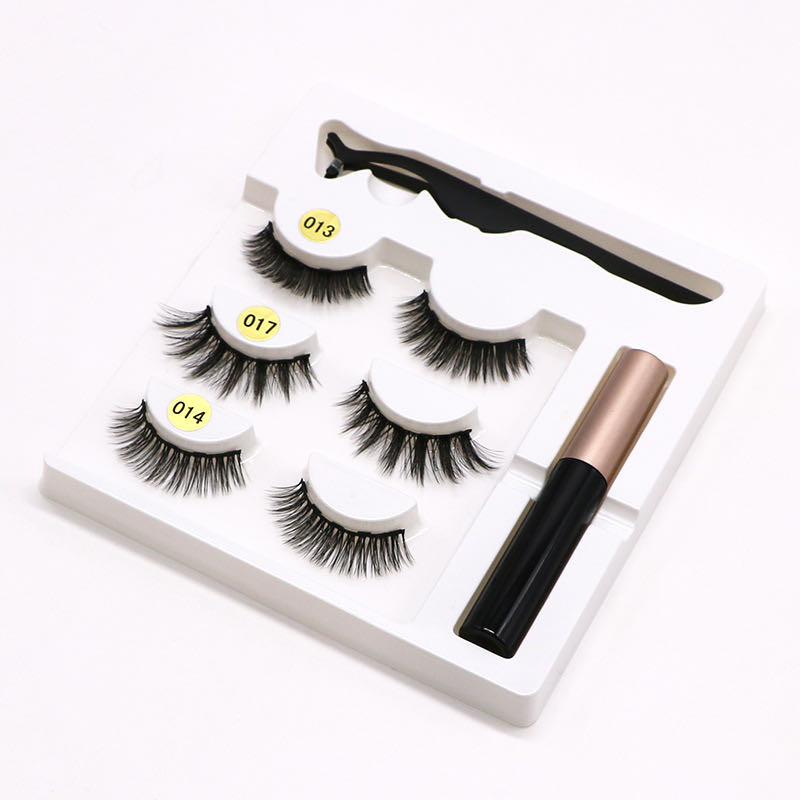 Hot Magnetic Eyelashs Set Magnet Liquid Eyeliner& Magnetic Lashes & Tweezer Set Waterproof Long Lasting Eyelash Extension