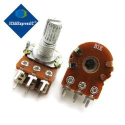 Potenciómetro de 1K ohm WH148 B1K 6 pines 1K, eje de 15mm con tuercas y arandelas, 5 uds.