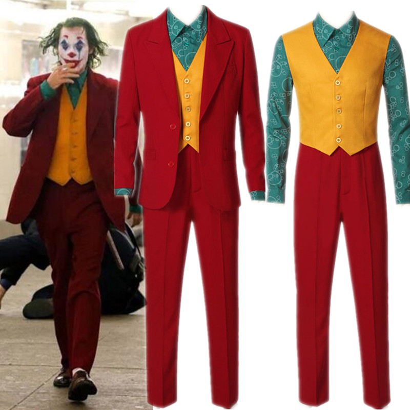 2019 Movie Joker Joaquin Phoenix Arthur Fleck Cosplay Costume Suits Halloween Mask