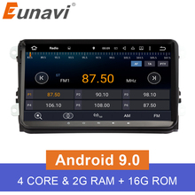 Eunavi Android 9.0 9 inch Quad core 2 Din  car radio stereo gps for VW Polo Jetta Tiguan passat b6 cc fabia mirror link wifi bt eunavi universal double 2 din android 7 1 car radio quad core 7 inch 2din car gps navigation for nissan with wifi stereo bt rds