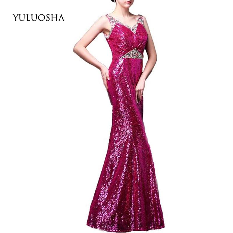 YULUOSHA Sequined Sexy Evening Dress Long Beading Backless V-Neck Long Dresses Evening Vestido De Noche Evening Gowns for Women