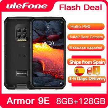 Купить Ulefone ARMOR 9E 8 ГБ + 128 ГБ прочный телефон Android 10 Helio P90 Восьмиядерный 2,4G + 5G WI-FI Mobilene 6600 мА/ч, 64MP Камера NFC Смартфон