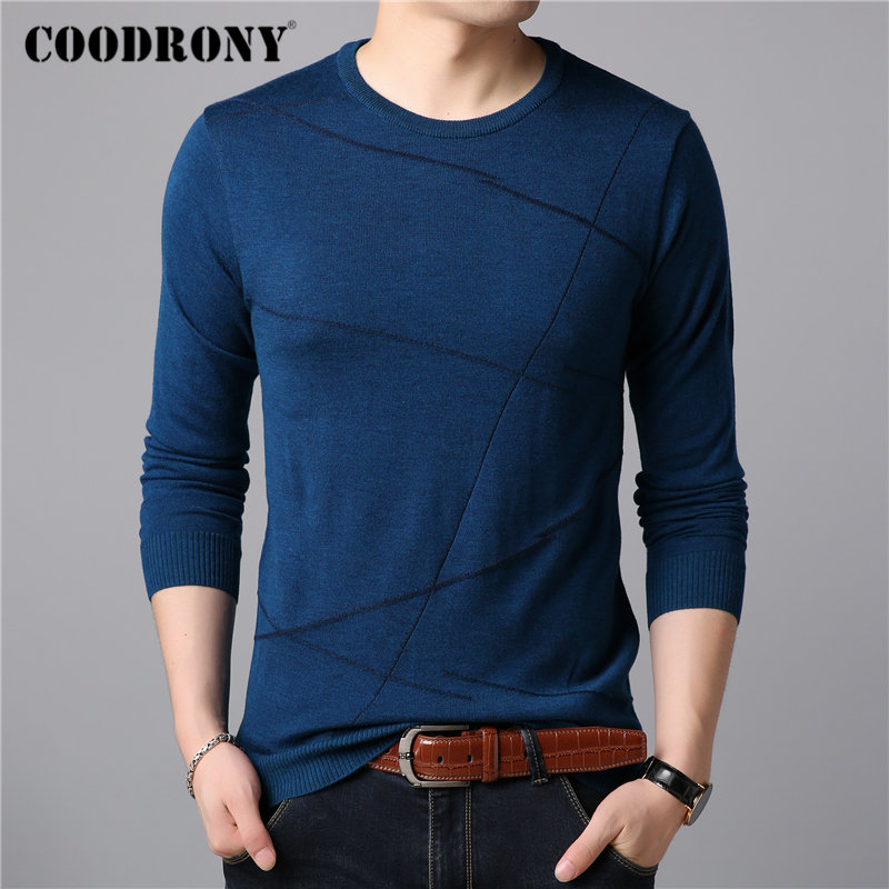 COODRONY Brand Sweater Men Casual Striped O-neck Pull Homme Cotton Wool Pullover Men Clothes Autumn Winter Jumper Sweaters 91077