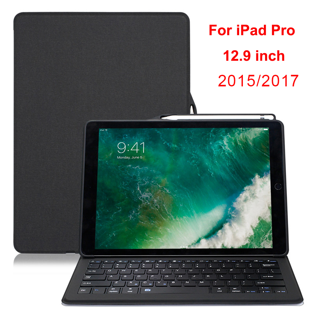 Para ipad pro 12.9 caso teclado titular lápis de couro luxo inteligente rotatable protector capa para ipad 12.9 2017/2015 caso capa