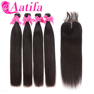 Image 3 - Transparent Lace Frontal With Bundles Brazilian Straight Hair Bundles With Frontal Aatifa 100% Human Virgin Hair With Closure