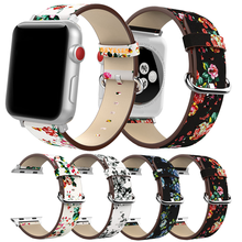 Wrist Watch for Apple Watch Band 38mm 42mm 40mm 44mm Bracelet National Floral Printed Leather Loop for iwatch 5 4 3 2 1 Strap