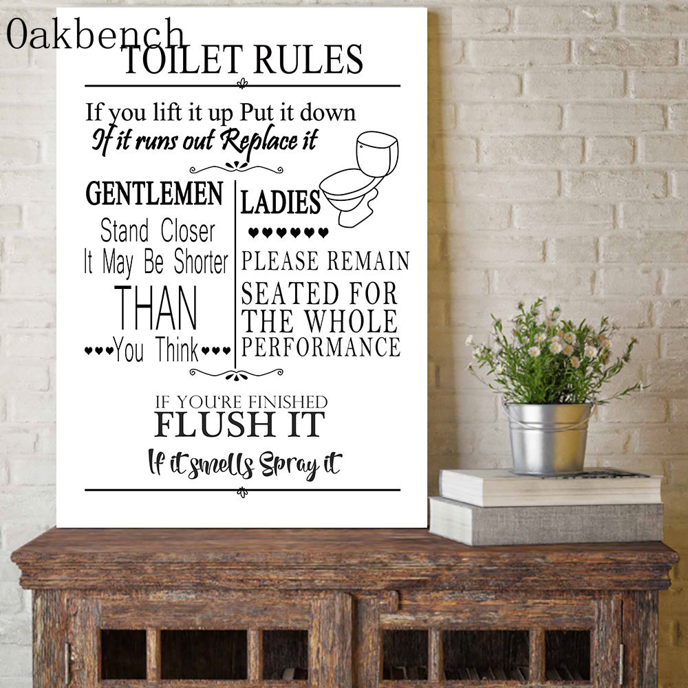 Funny Bathroom Rules Sign Canvas Painting Wall Art Toilet Rules Print Painting Nordic Poster Print Wall Pictures For Bathroom Painting Calligraphy Aliexpress