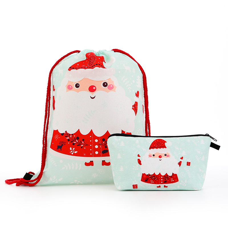 Suit Drawstring Backpack Drawstring Bags Fashion Printing  Men Casual Bags Women's Shoulder Bag Polyester Santa Claus Small New