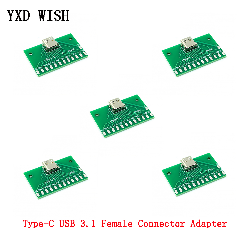 5pcs Type-C Female Connector Adapter Test Board USB 3.1 24P Socket Base PCB Board For Arduino Type C USB Connectors 24Pin