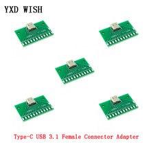 Carte de Test d'adaptateur de connecteur femelle type-c USB 3.1 24P, 5 pièces, Base de prise, PCB pour connecteurs Arduino type-c 24 broches