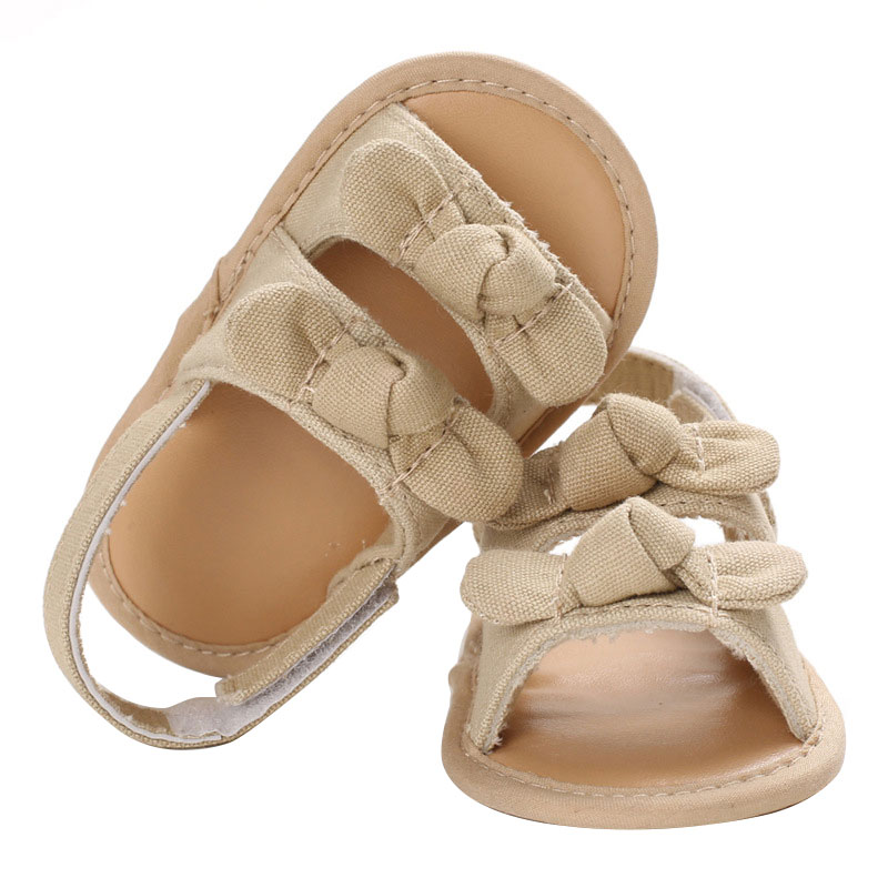 Cute Summer Newborn Baby Girls Sandals Toddler Infant Anti-Skid Soft Sole Shoes Princess Bow-Knot Cloth Shoes Baby Pre-walkers