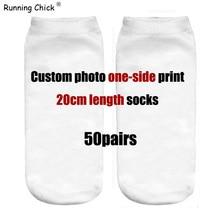 Customized 50pairs one-side Print Socks Women Wholesale