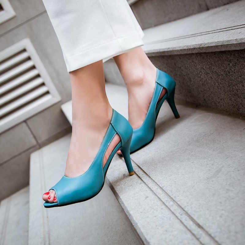 Tatlı yaz sandalet kadın ayakkabı moda pembe mavi sarı kadın sandalet Peep Toe yüksek topuklu Cut-out sandalet bayan ayakkabıları