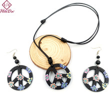 2019 Women Hiphop Rock Peace Symbol Necklace Earrings Set Kpop Vintage Print Wood Geometric Jewelry Carnival Unique Decoration(China)