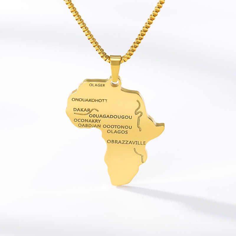 สแตนเลสแอฟริกาแผนที่สร้อยคอจี้รูปทรงเรขาคณิตสร้อยคอผู้หญิงที่กำหนดเองๆ State รูปเครื่องประดับของขวัญ