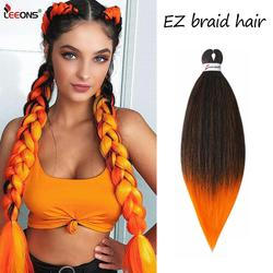 Leeons 20Inch Easy Braiding Hair Ombre Braiding Hair Pre Stretched Ez Braid Hair Extension 60Colors Low Temperature Fiber 90G/Pc