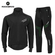 Clothing-Set Bicycle ROCKBROS Women Thermal-Skiing-Sportswear Windproof Winter Top-And-Pants
