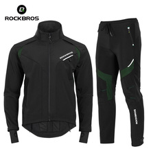 Clothing-Set Top-And-Pants Thermal-Skiing-Sportswear ROCKBROS Winter Cycling Fleece Windproof