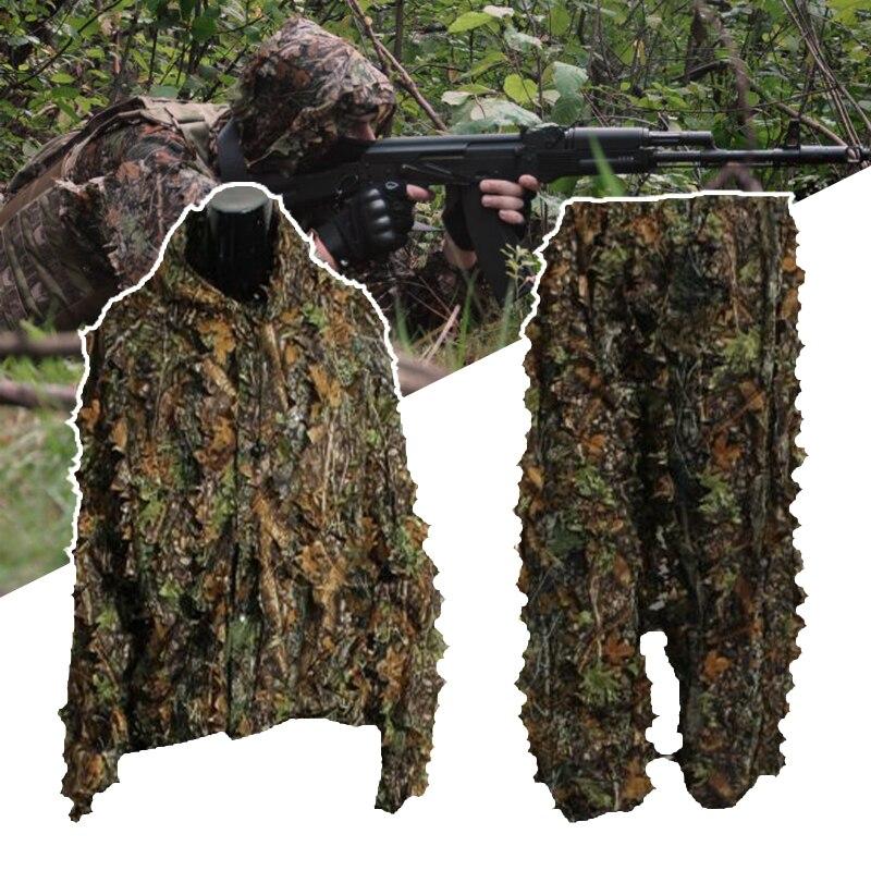3D Foglia Adulti Ghillie Suit Woodland Camo/Camouflage Caccia Al Cervo Stalking in