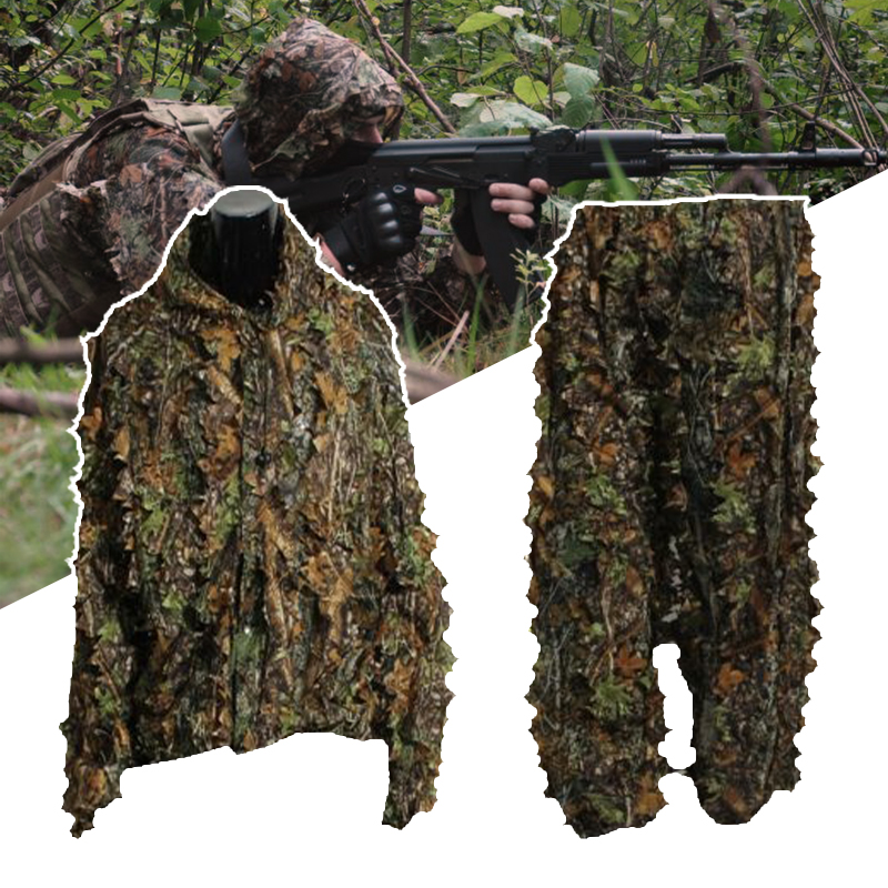 3D Leaf Adults Ghillie Suit Woodland Camo/Camouflage Hunting Deer Stalking In