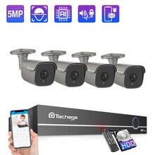 Techage 4/8CH 5MP POE NVR Kamera System Outdoor Zwei Weg Audio IP Kamera AI Menschlichen Erkennung CCTV video Security Surveillance Kit