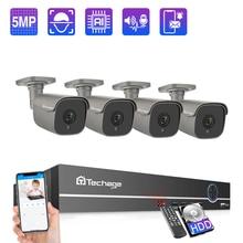 Techage 4/8CH 5MP poe nvrカメラシステム屋外双方向オーディオipカメラai人検知cctvビデオセキュリティ監視キット