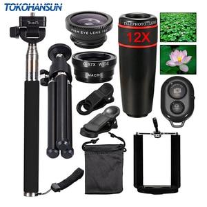 Image 1 - TOKOHANSUN 10 In 1 Universal Phone Camera 12X Zoom Lens For Smartphone Telephoto Lens Wide Angle FishEye Macro Tripod for iPhone