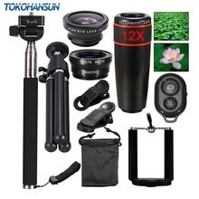TOKOHANSUN 10 en 1 universel téléphone caméra 12X Zoom objectif pour Smartphone téléobjectif grand Angle FishEye Macro trépied pour iPhone