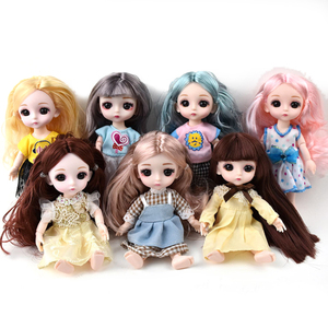 16cm big eye doll simulation princess dress up toy Movable Jointed Dolls Fashion Hair Doll Toy For Girls Dolls & Accessories(China)
