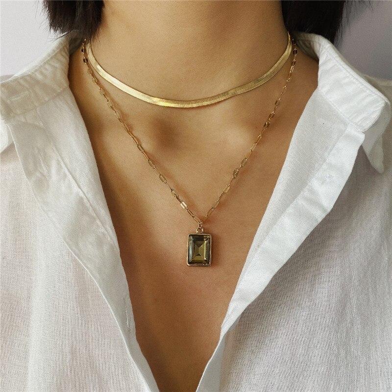 Moda em camadas pingente de cristal colar de cor de ouro para mulher cobra link corrente espinha de peixe chocker femme collier jóias