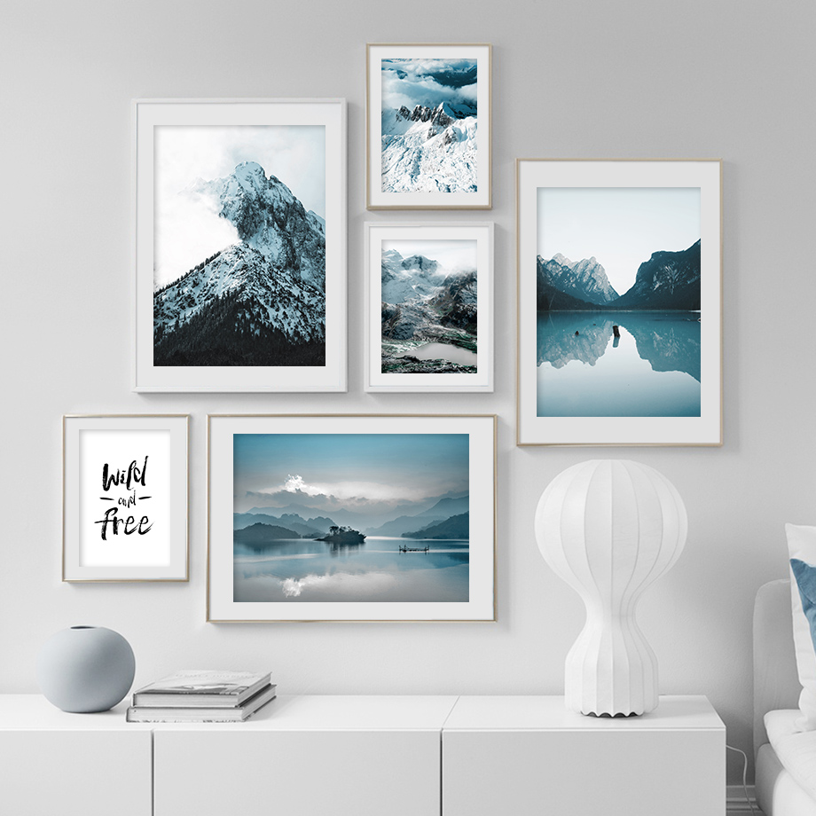 Nature Snow Mountain Forest Lake Quotes Nordic Posters And Prints Wall Art Canvas Painting Wall Pictures For Living Room Decor
