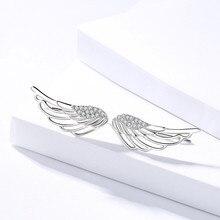 925 Sterling Silver Earrings Angel Wings White Feather Set Zircon For Women Popular Temperamental
