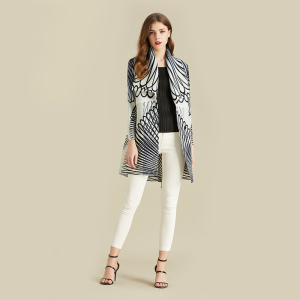 Image 4 - LANMREM White Stripe Long Sleeve Large Lapel Pleated Woman Cardigan Thin Jacket Casual Simple Fashion 2020 autumn Coat New TV586