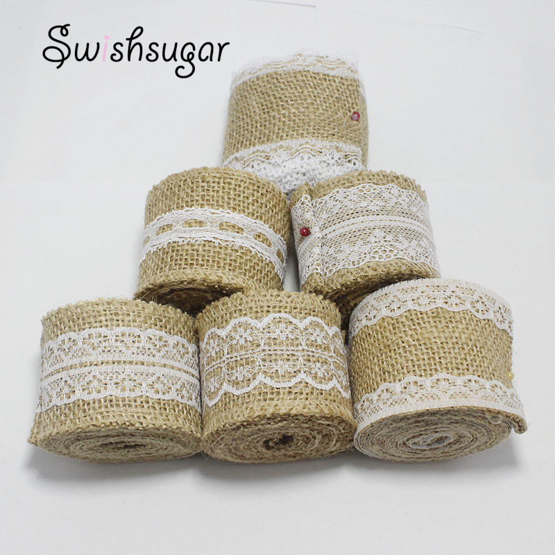 2yards Natural Jute Hessian Burlap Lace Ribbon Rustic Wedding Belting Strap Floristry Bouquet Accessories