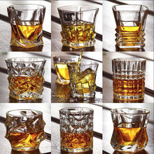 Crystal Whiskey Glass Irregular Wine Glass Lead-free Heat Resistant Brandy Cup Multi Pattern Beer Water Mug For Home Bar Party