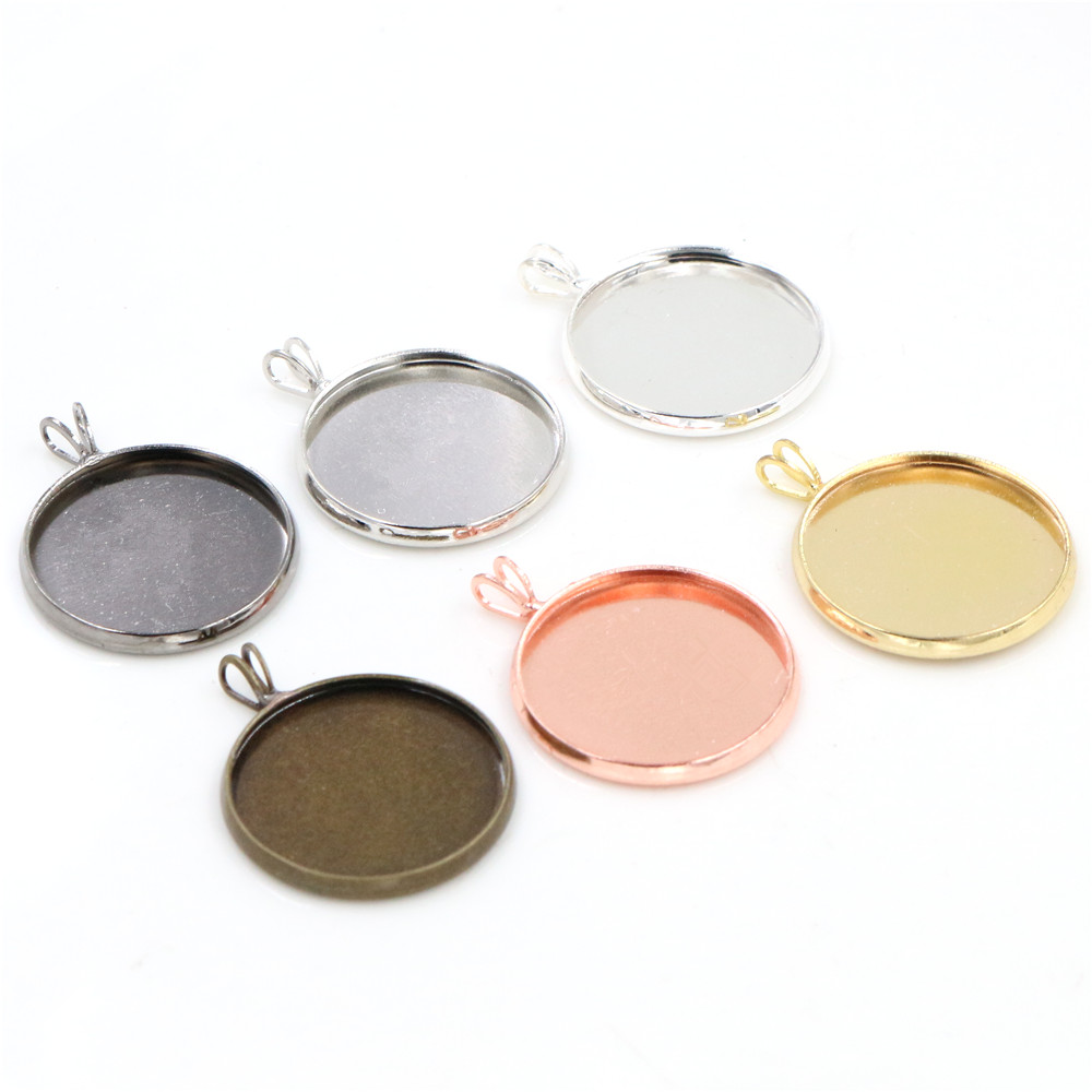 10pcs 20mm Inner Size 6 Colors Plated V Shape Style Brass Metal Cabochon Base Setting Charms Pendant