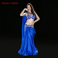 Pre Sale Luxury Women Oriental Dance Performance Costume Red Bellydance Show Wear Handmade With Long Wings Sleeve Red
