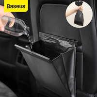 Baseus organizador do carro tronco do carro couro do plutônio saco de armazenamento assento traseiro caixa de armazenamento de carga automática universal para carros bagagem viagem bolso