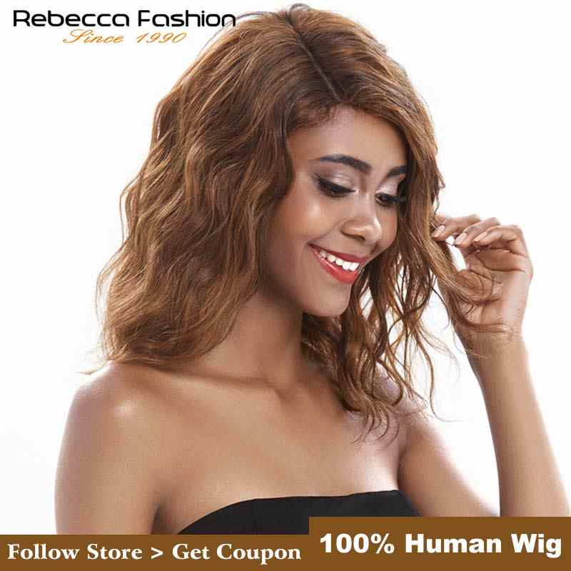 Rebecca Water Wave Ombre Human Hair Lace Wigs For Black Women L Part Peruvian Remy Wet And Wavy Wave Lace Wig 14 Inch Free Ship